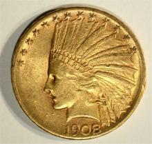 1908-S $10 INDIAN GOLD COIN AU