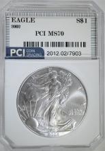 2002 AMERICAN SILVER EAGLE PCI PERFECT GEM BU