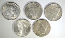5 PEACE DOLLARS; 1923-S CIRC, 2-1923