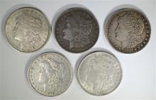 5 MORGAN DOLLARS; 1878 CIRC, 3-1921 &