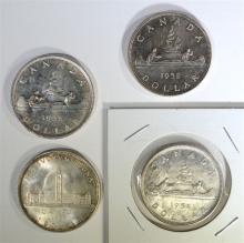 4 - CANADA SILVER DOLLARS; 1939, 1951,