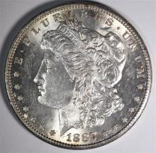 1887-S MORGAN DOLLAR, CH BU SEMI-KEY