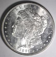 1891-S MORGAN DOLLAR, CH BU SEMI-KEY