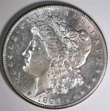 1897-S MORGAN DOLLAR, CH BU SEMI-KEY