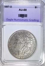 1897-O MORGAN SILVER DOLLAR, ENG AU/BU