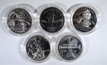 5 - SILVER COMMEM DOLLARS; 1994 WORLD CUP