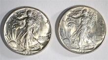 (2) 1942 WALKING LIBERTY HALF DOLLARS CHOICE BU