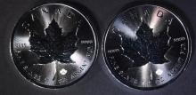 2-BU 2016 1oz SILVER CANADIAN MAPLE LEAF COINS
