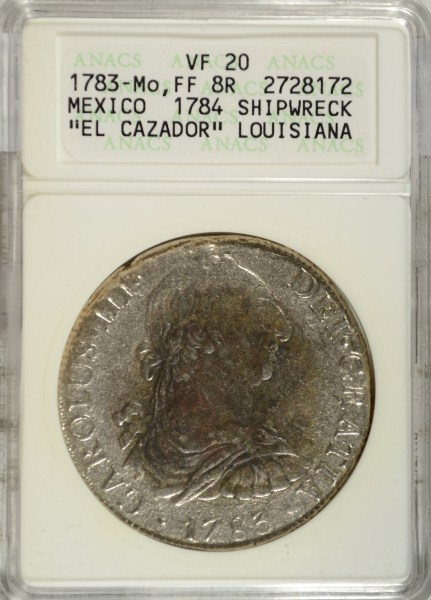 1783-Mo, FF 8R MEXICO 8 REALE FROM THE EL CAZADOR SHIPWRECK