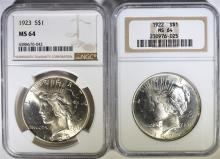 1922 & 1923 PEACE SILVER DOLLARS - NGC MS64