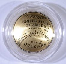 2014 $5 GOLD PROOF BASEBALL Hall of Fame COMMEMORATIVE COIN - BOX/COA