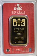 REPUBLIC METALS ONE TROY OUNCE .999.9 FINE GOLD BAR  SEALED IN PLASTIC