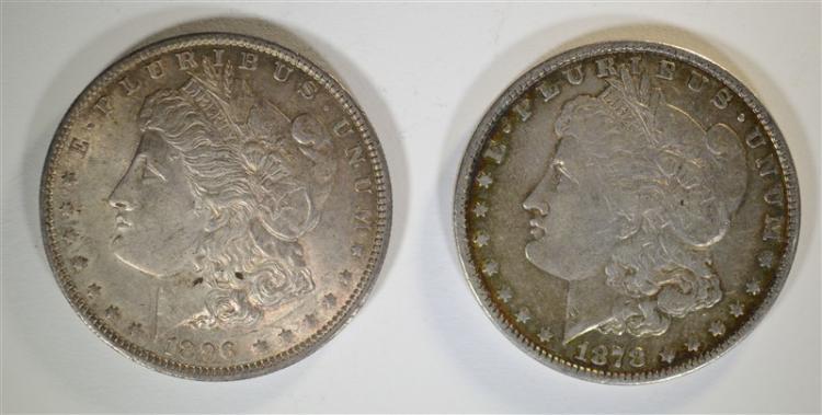 1896 CHBU & 1878 7F XF MORGAN DOLLAR