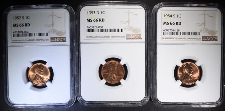 1952-S, 1953-D, 1954-S NGC MS66 RD