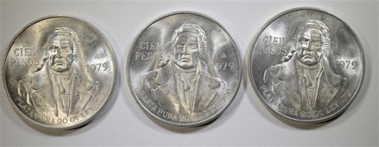 3-BU 1979 MEXICO 5 PESOS, 720 SILVER
