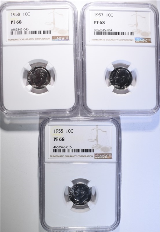 1955, 57 & 58 ROOSEVELT DIMES, NGC PF-68