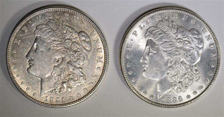 1921-D & 1886 MORGAN DOLLARS, CHOICE BU