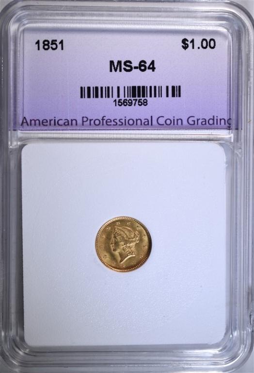 1851 $1.00 GOLD LIBERTY, APCG CH/GEM BU