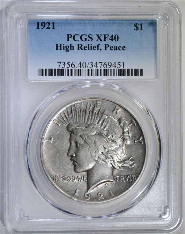 1921 HIGH RELIEF PEACE DOLLAR PCGS XF40