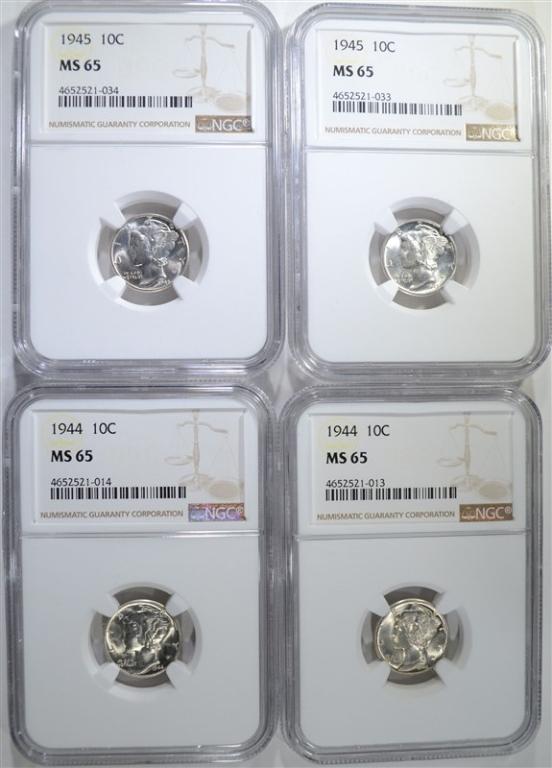 2-1944 & 2-1945 MERCURY DIMES, NGC MS-65
