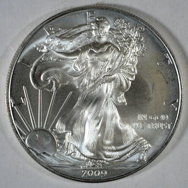 2009 AMERICAN SILVER EAGLE ONE OUNCE .999 SILVER COIN, GEM BU