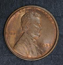 1909 VDB LINCOLN CENT, CHOICE BU+ RB