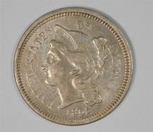 1865 3-CENT NICKEL, AU