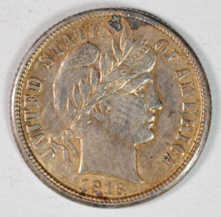 1916-S BARBER DIME, BU PRETTY TONING