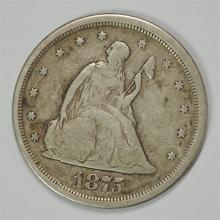 1875-S TWENTY CENT PIECE, FINE