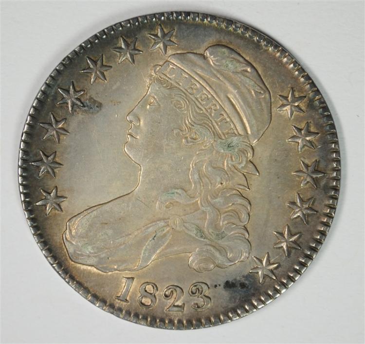 1823 CAPPED BUST HALF DOLLAR, AU/BU