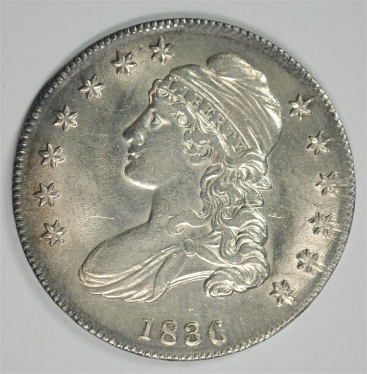 1836 CAPPED BUST HALF DOLLAR, AU/BU  PRETTY COIN!