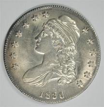 1836 CAPPED BUST HALF DOLLAR, AU/BU  PRETTY COIN!