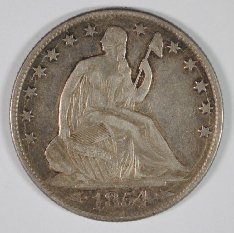 1854-O SEATED HALF DOLLAR, XF/AU