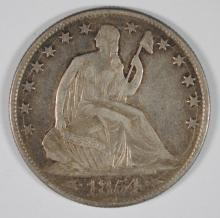 1854-O SEATED HALF DOLLAR, XF/AU