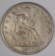 1877 SEATED HALF DOLLAR, XF/AU a few marks on reverse