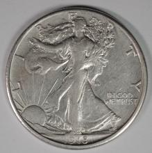 1918-S WALKING LIBERTY HALF DOLLAR,  AU