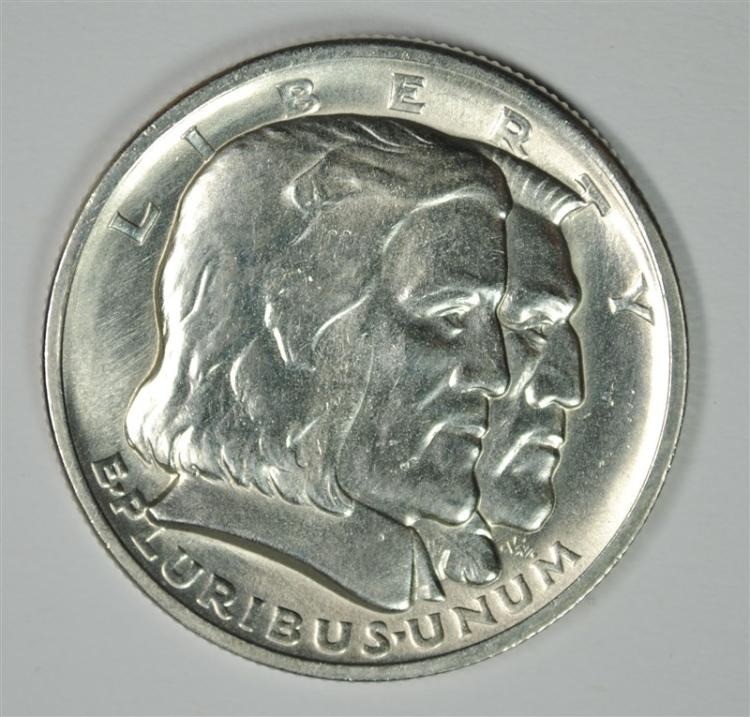 1936 LONG ISLAND COMMEMORATIVE HALF DOLLAR, GEM BU BLAST WHITE