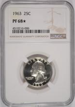 1963 WASHINGTON QUARTER, NGC PF-68* ( STAR )