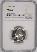 1964 WASHINGTON QUARTER, NGC PF-68* ( STAR )