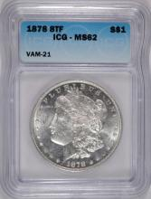 1878 8TF VAM-21 MORGAN SILVER DOLLAR, ICG MS-62