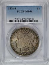 1878-S MORGAN DOLLAR PCGS MS-64 GREAT ORIGINAL COLOR