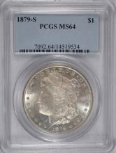 1879-S MORGAN SILVER DOLLAR, PCGS  MS-64