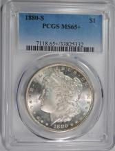 1880-S MORGAN SILVER DOLLAR, PCGS MS-65+