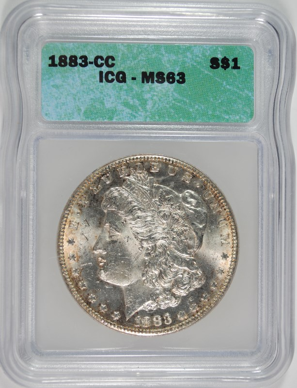 1883-CC MORGAN SILVER DOLLAR, ICG MS-63