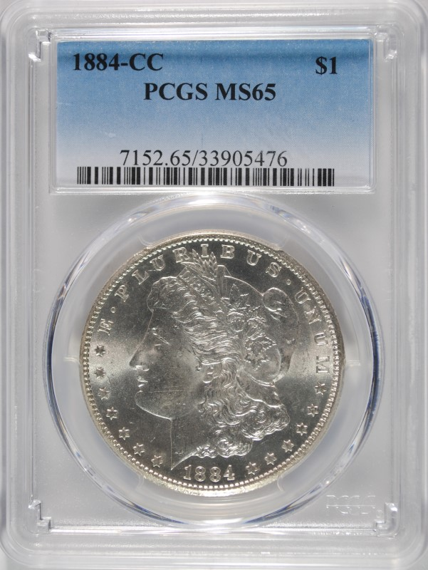 1884-CC MORGAN DOLLAR PCGS MS-65 BRIGHT WHITE