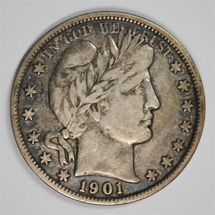 1901 BARBER HALF DOLLAR, VF