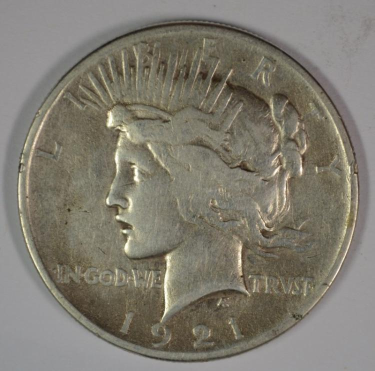 1921 PEACE SILVER DOLLAR, FINE+