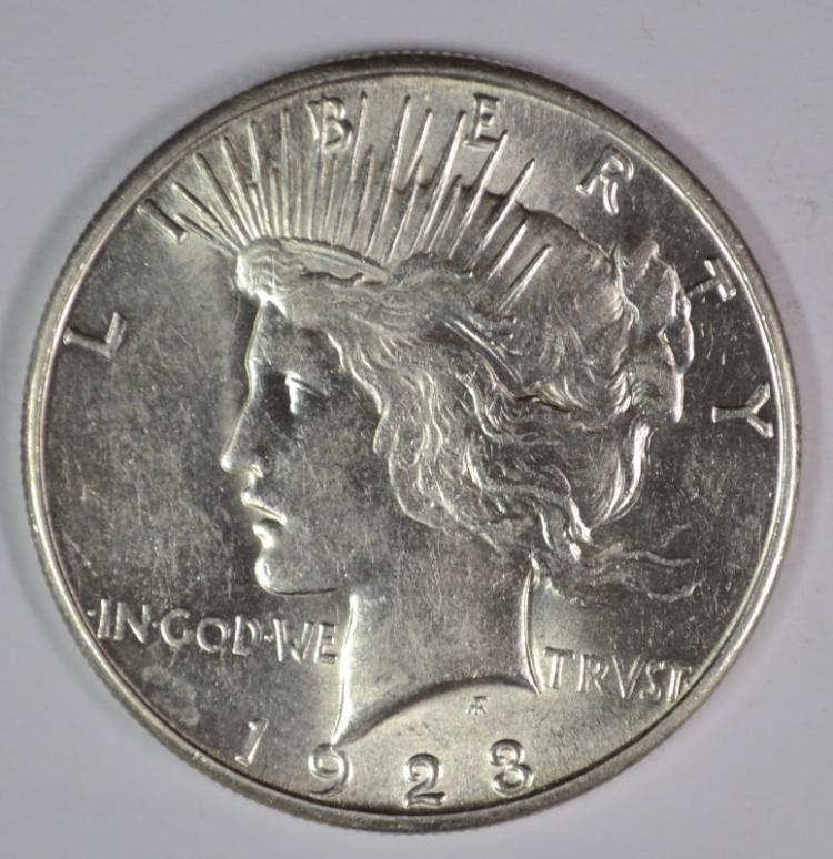1923-S PEACE SILVER DOLLAR, CHOICE BU