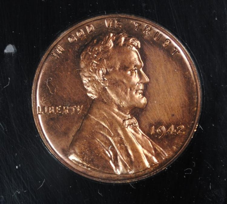 1942 LINCOLN WHEAT CENT, GEM PROOF  RED