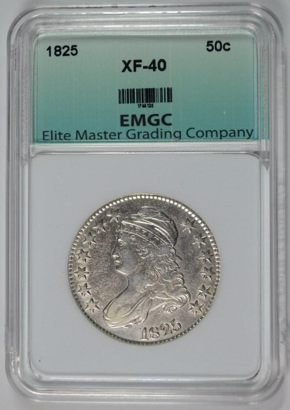 1825 BUST HALF DOLLAR, EMGC XF